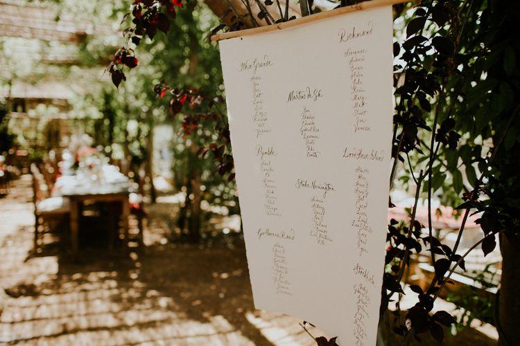 Calligra[hy Seating Chart | Petersham Nurseries Botanical Wedding | Irene Yap Photography