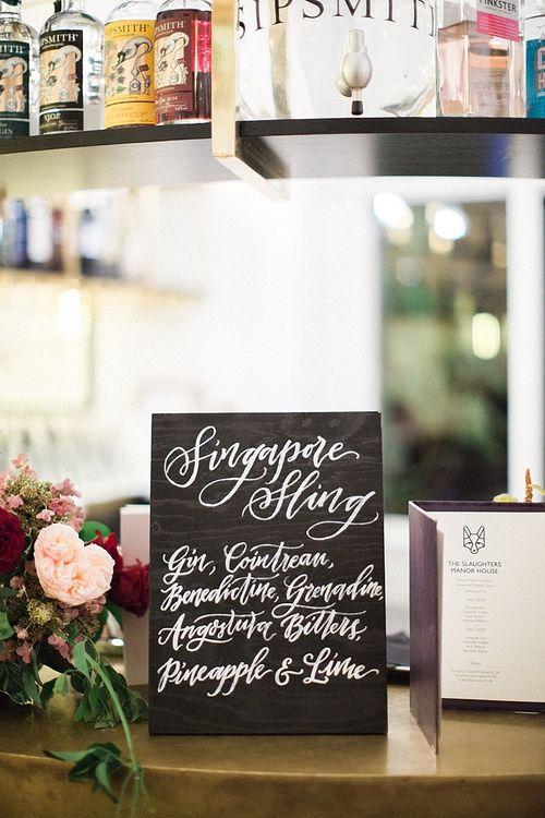 Omogen Owen Chalkboard Cocktail Wedding Sign | Jacob & Pauline Photography | Pretty in White Films