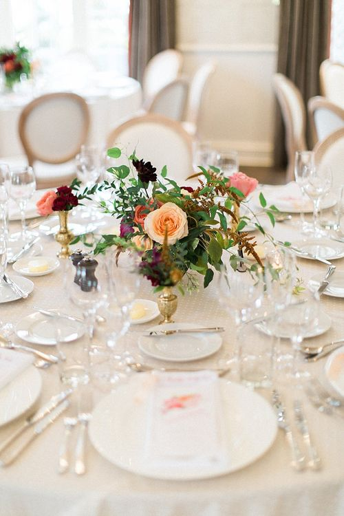 Peach, Coral, Pink, Fuchsia, Red & Burgundy Floral Centrepiece by Westwood Design | Jacob & Pauline Photography | Pretty in White Films