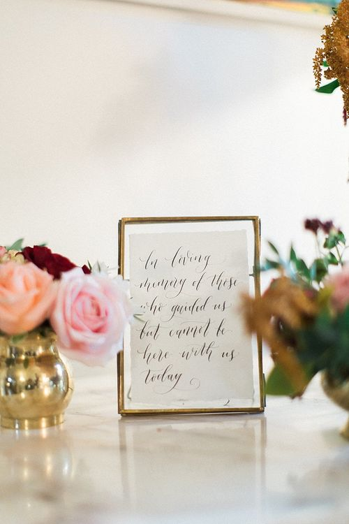 Script Wedding Sign | Peach, Coral, Pink, Fuchsia, Red & Burgundy Floral Decor by Westwood Design | Jacob & Pauline Photography | Pretty in White Films