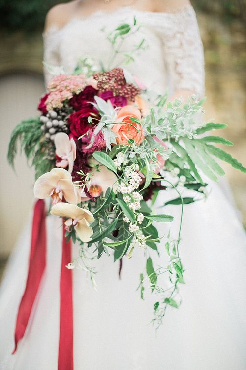 Peach, Coral, Pink, Fuchsia, Red & Burgundy Wedding Bouquet by Westwood Design | Jacob & Pauline Photography | Pretty in White Films
