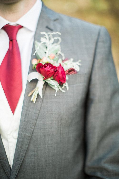 Red Flower Buttonhole | Groom in Moss Bros Traditional Suit | Jacob & Pauline Photography | Pretty in White Films