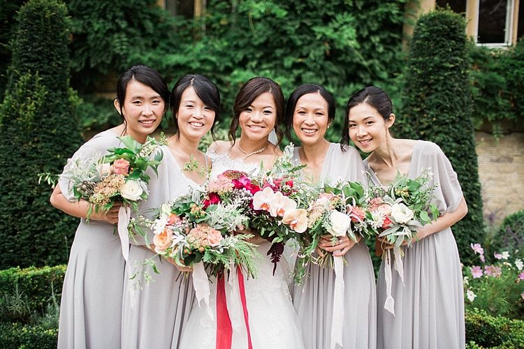 Bridesmaids in Grey Love Potion Dresses | Bride in Renee L. Collections Bridal Gown | Jacob & Pauline Photography | Pretty in White Films