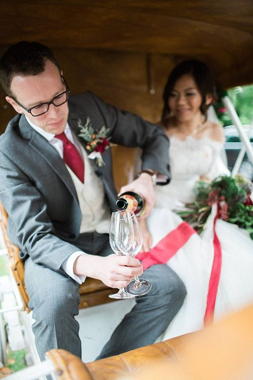 Horse & Carriage | Bride in Renee L. Collections Gown | Groom in Moss Bros Traditional Suit | Jacob & Pauline Photography | Pretty in White Films
