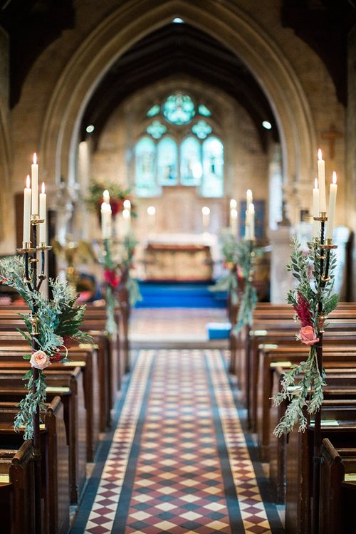 Candles Pew End Decor | Jacob & Pauline Photography | Pretty in White Films
