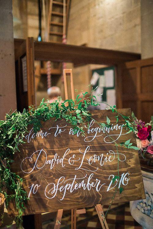 Imogen Owen Wooden Script Wedding Sign | Jacob & Pauline Photography | Pretty in White Films