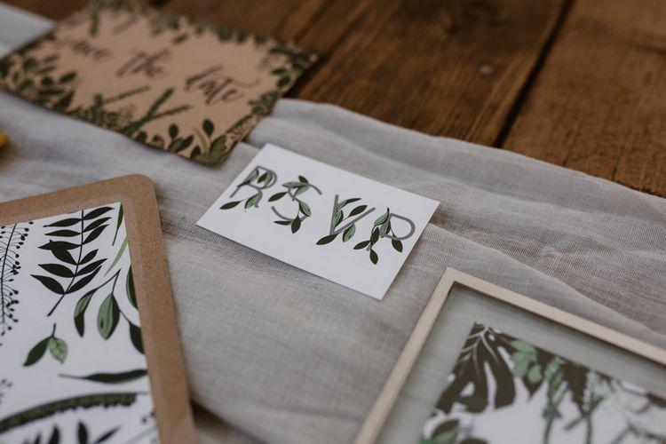 Botanical Stationery Suite With Kraft Paper Envelope