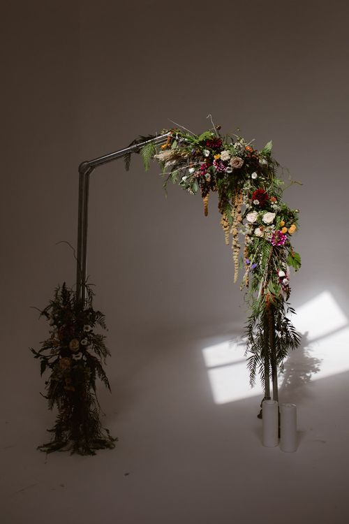 Industrial Floral Ceremony Arch For Wedding