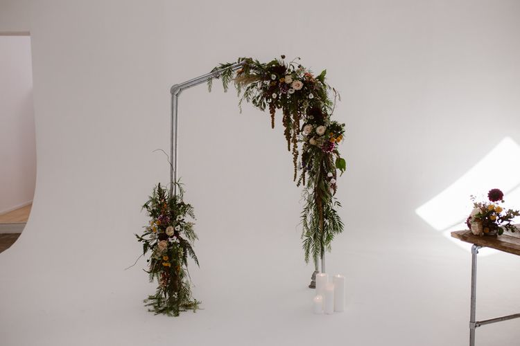Industrial Style Floral Ceremony Arch For Wedding
