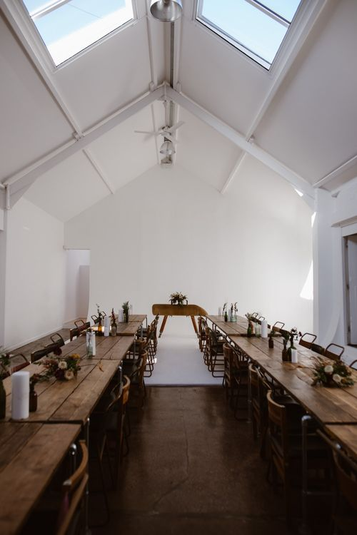 Trestle Tables & Wooden School Chairs For Wedding Reception