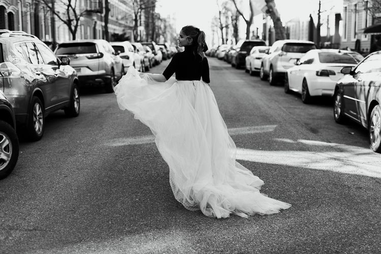 Intimate Elopement In New York City With Bride In Black Sweater And Blue Tulle Skirt And A Ponytail With Images From Forester Fotografos