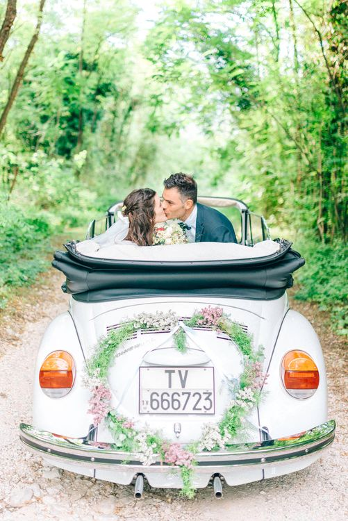 White Beetle Wedding Car with Floral Heart Wreath