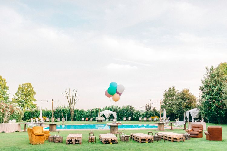 Pool Side Seating with Giant Balloons