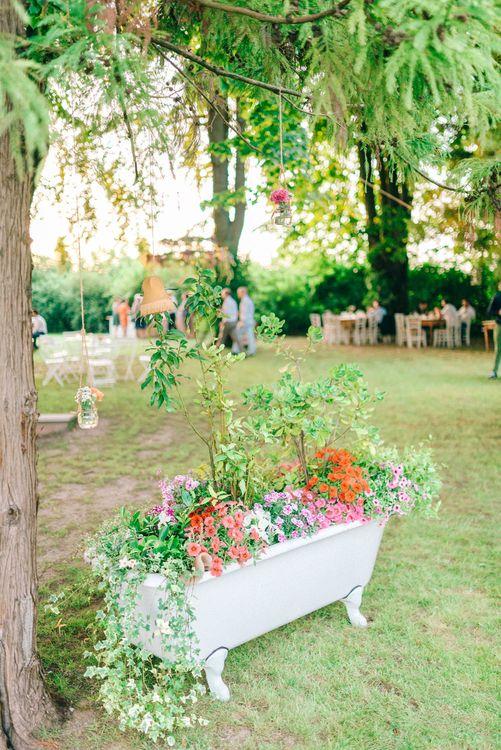 Rolltop Bath full of Flowers Wedding Decor
