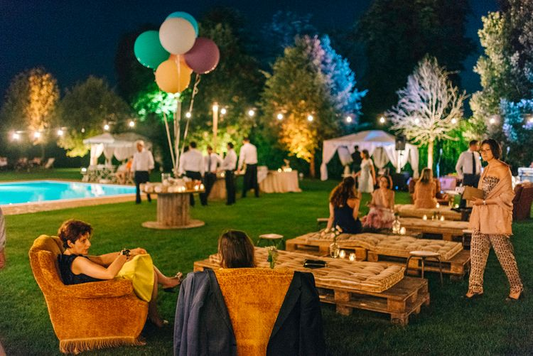 Festoon Lights, Balloons, Pool Side Seating