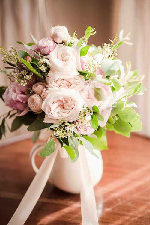 Pastel Pink Rose & Peony Bridal Bouquet | Tuscany Wedding | Due su Due Photography