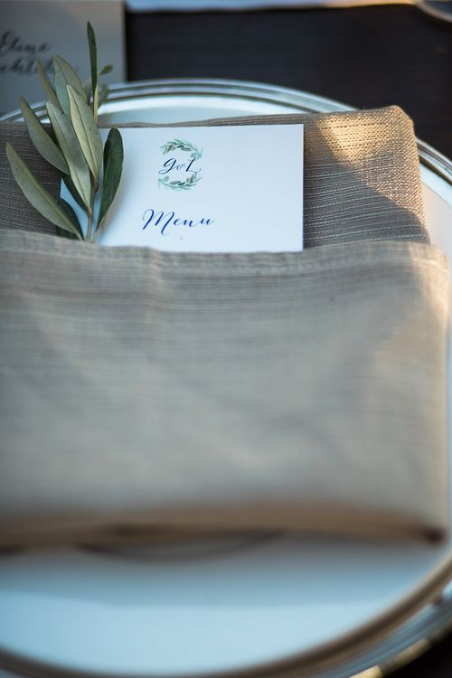 Napkin & Menu Place Setting | Tuscany Wedding | Due su Due Photography