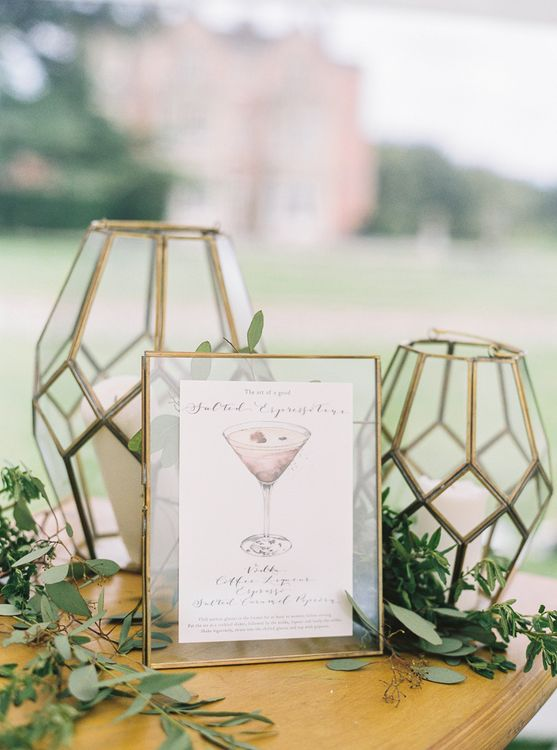 Bespoke Cocktail Illustration From De Winton Paper Co // Elegant & Classic Sail Cloth Tent Wedding At Wickham House With Bride In Pronovias And Images From Fine Art Photographer Julie Michaelsen