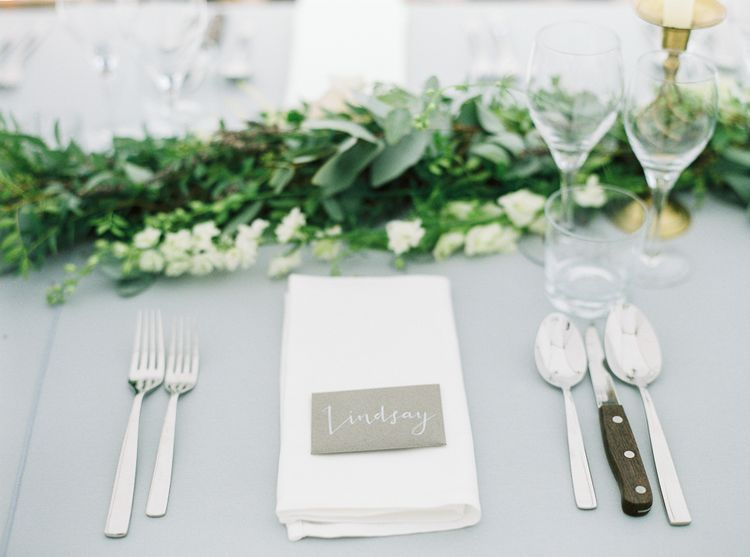 Elegant Wedding With Foliage Runners & Grey Table Linen // Elegant & Classic Sail Cloth Tent Wedding At Wickham House With Bride In Pronovias And Images From Fine Art Photographer Julie Michaelsen