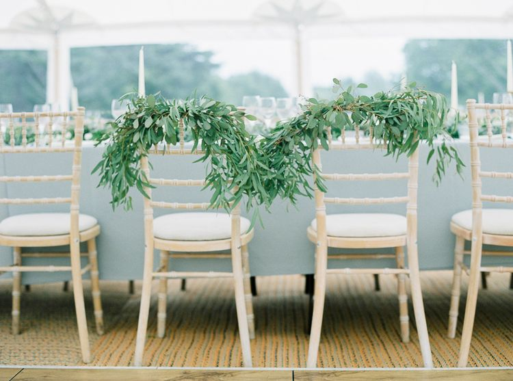 Foliage Chair Backs For Wedding // Elegant & Classic Sail Cloth Tent Wedding At Wickham House With Bride In Pronovias And Images From Fine Art Photographer Julie Michaelsen