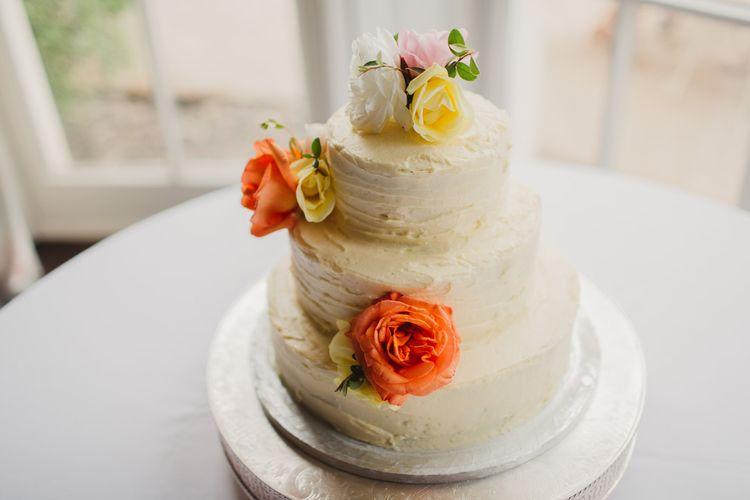 Buttercream Wedding Cake With Fresh Flowers