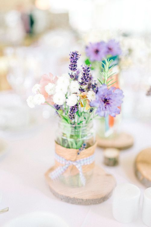 Jam Jar Flowers With Log Slice Centrepieces