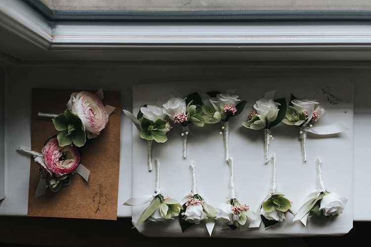 White Buttonholes For Wedding // Image By Miss Gen Photography