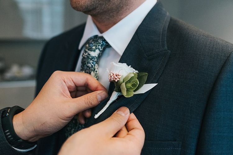 Simple Buttonhole For Groom By That Flower Shop // Image by Miss Gen Photography