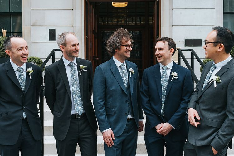 Groom & Groomsmen In Navy With Floral Print Ties // Image By Miss Gen Photography