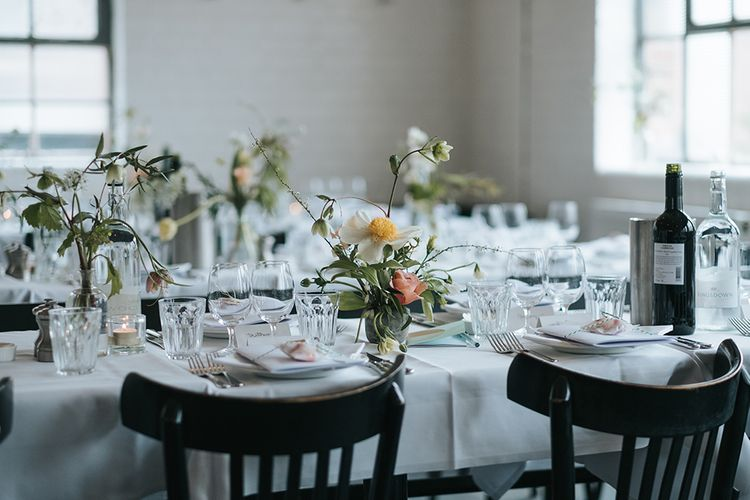 Wedding Reception At Bistrotheque London With Seasonal Flowers By That Flower Shop // Image By Miss Gen