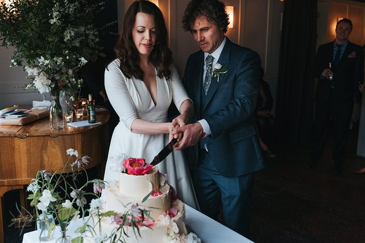 Cutting The Wedding Cake // Prospere By Delphine Manivet Bride For An Intimate Family Wedding At Bistrotheque London With Images From Miss Gen Photography