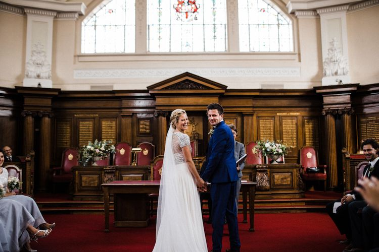 Islington Town Hall Wedding // Jenny Packham Bride For A Relaxed Garden Party Style Wedding At Bourne & Hollingsworth Building With Bridesmaids In Coast Separates Images From Through The Woods We Ran