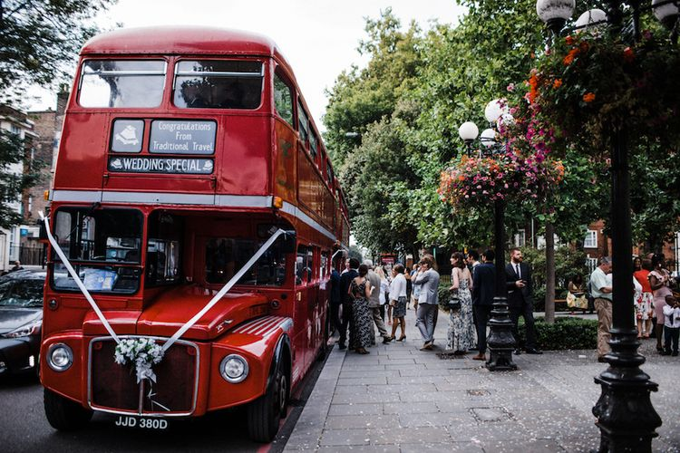 Red London Bus For Wedding Transport // Jenny Packham Bride For A Relaxed Garden Party Style Wedding At Bourne & Hollingsworth Building With Bridesmaids In Coast Separates Images From Through The Woods We Ran