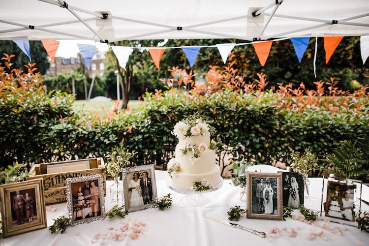 Lily Vanilli Wedding Cake With Buttercream Icing // Jenny Packham Bride For A Relaxed Garden Party Style Wedding At Bourne & Hollingsworth Building With Bridesmaids In Coast Separates Images From Through The Woods We Ran