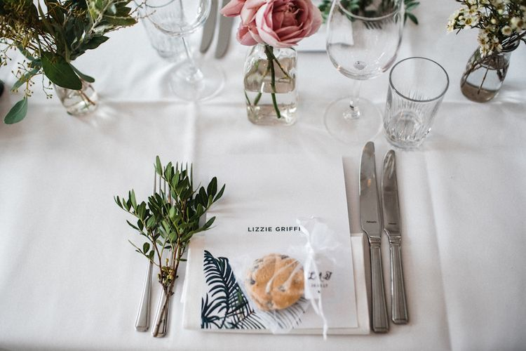 Welsh Cake Wedding Favours // Jenny Packham Bride For A Relaxed Garden Party Style Wedding At Bourne & Hollingsworth Building With Bridesmaids In Coast Separates Images From Through The Woods We Ran