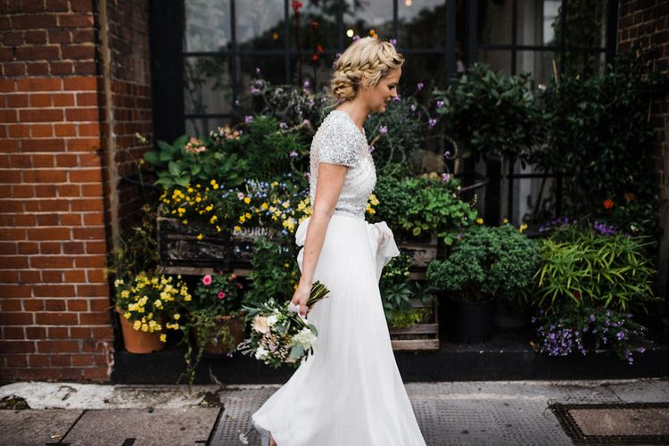Jenny Packham Bride For A Relaxed Garden Party Style Wedding At Bourne & Hollingsworth Building With Bridesmaids In Coast Separates Images From Through The Woods We Ran