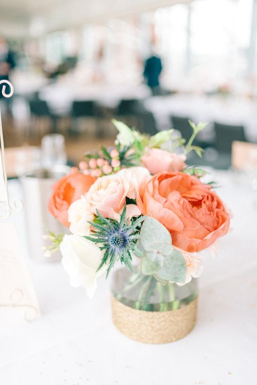 Coral Flowers in Jars Centrepiece