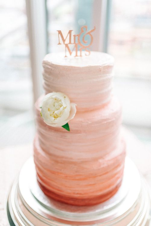 Pink Ombre Wedding Frosted Cake