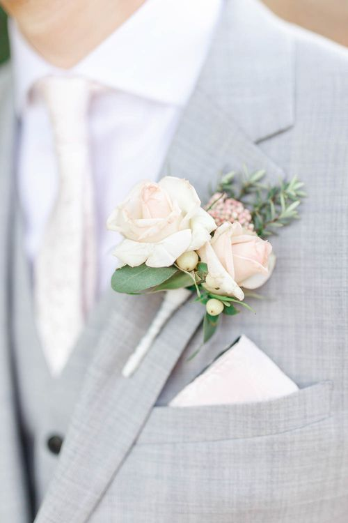 Blush Pink & White Rose Buttonhole | The Secret Garden Wedding Venue in Essex | White Stag Wedding Photography