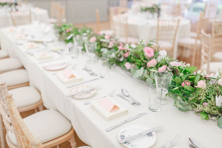 Blush Pink & White Top Table Wedding Flowers | The Secret Garden Wedding Venue in Essex | White Stag Wedding Photography