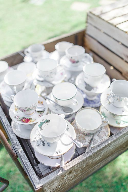 Vintage China Tea Cups | The Secret Garden Wedding Venue in Essex | White Stag Wedding Photography