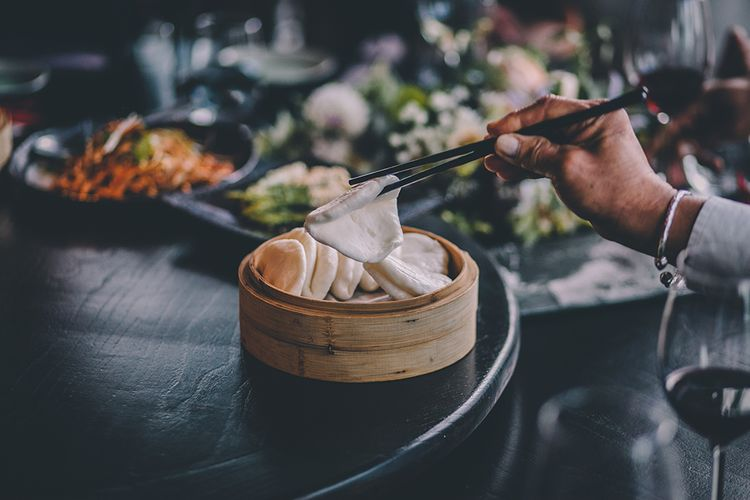 Chinese Wedding Breakfast   Wedding Ceremony   Bride in Reformation Poppy Gown   Groom in Navy Bespoke Club Suit   Stylish London Wedding Planned by Revelry Events   Story + Colour Photography