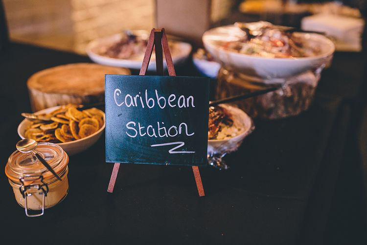 Caribbean Food Station   Stylish London Wedding Planned by Revelry Events   Story + Colour Photography