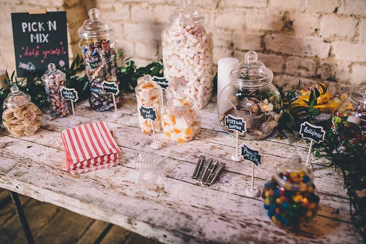 Sweet Table   Stylish London Wedding Planned by Revelry Events   Story + Colour Photography