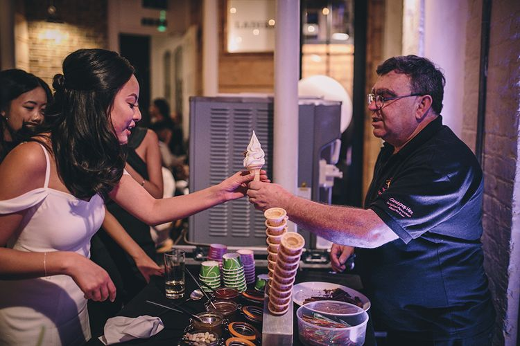 Ice Cream Station   Stylish London Wedding Planned by Revelry Events   Story + Colour Photography