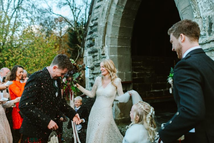 Botanical Barn Wedding In Scotland With An Abundance Of Foliage & Flowers With Bride In Vintage Gown By Elizabeth Avey & Images From Tub Of Jelly
