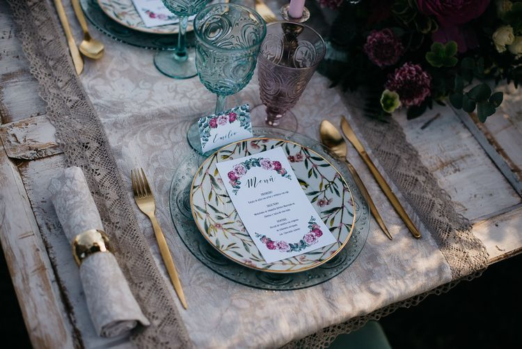 Floral Place Setting For Wedding
