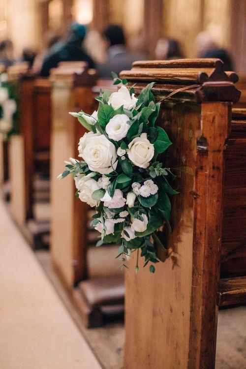 Pew End White Wedding Flowers