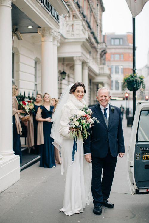 Bridal Arrival in Charlotte Simpson Wedding Dress