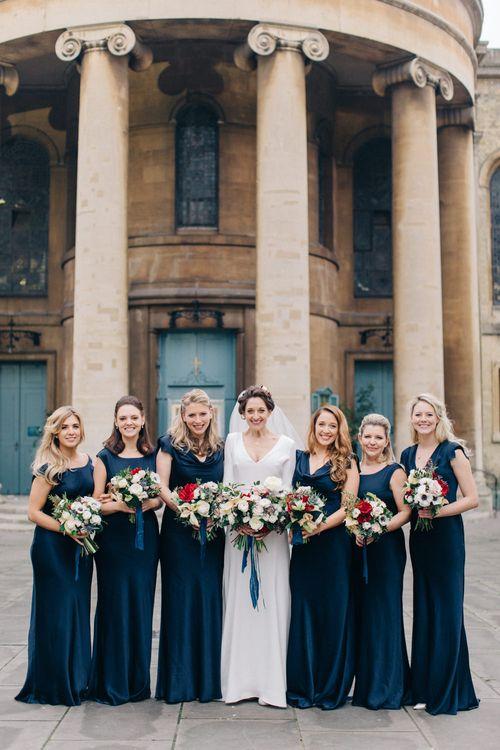 Bridesmaids in Navy Ghost Bridesmaid Dresses